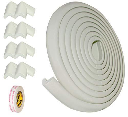 IKELOA kit Seguridad - Protector Esquinas y Bordes Anti-Golpes extra grueso para Bebes y Niños - (6 Metros de Tira Protectora) 8 Protectores Esquinas (Blanco) para proteger mesas,muebles,escaleras