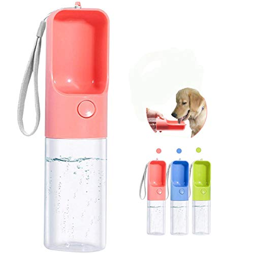 Sofunii Dog Water Bottle for Walking, Portable Pet Travel Water Drink Cup Mug Dish Bowl Dispenser, Made of Food-Grade Material Leak Proof & BPA Free - 15oz Capacity (Blue&Pink&Green) (Pink)