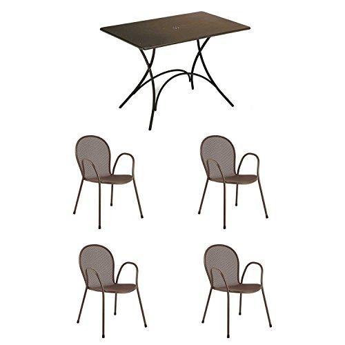 EMU Ensemble table Pigalle 120 x 90 cm + 4 fauteuils ronds, marron