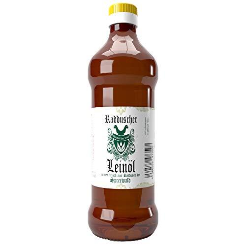 Original Radduscher Leinöl aus dem Spreewald Dorf Raddusch kaltgepresst, ungefiltert 100% naturrein und naturbelassen Leinsamenöl Omega 3 vegan reines Naturprodukt aus dem Spreewald (500 ml)