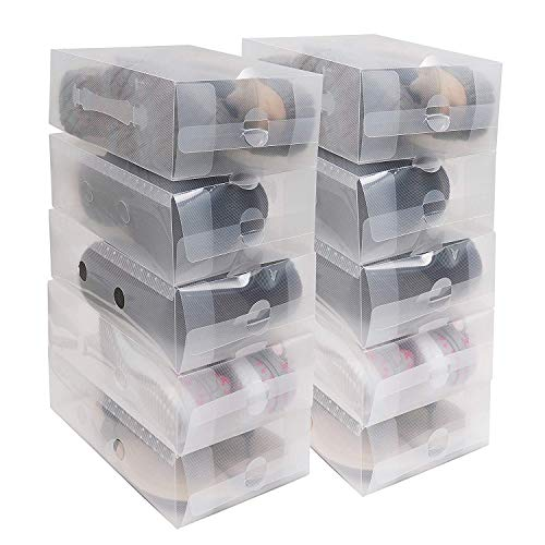 Kurtzy Schuhkartons 20-TLG - (18 x 30.5 x10cm) Transparente Faltbarer Plastik Aufbewahrungs Schuhkarton fur Damen, Männers