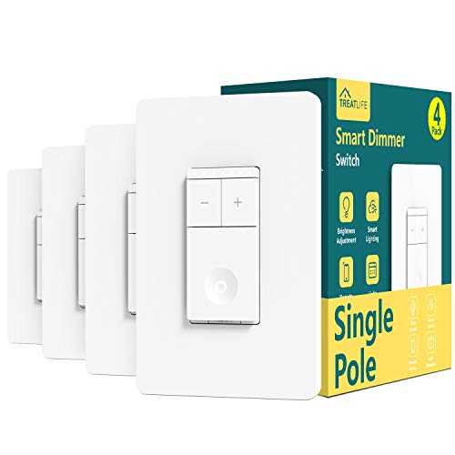 Treatlife Smart Dimmer Switch, Neutral Wire Needed, 2.4Ghz Wi-Fi Light Switch, Compatible with Alexa and Google Assistant, Schedule, Remote Control, Single Pole (4 PACK)