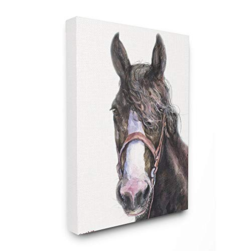 Stupell Industries Large Horse Head Animal Watercolor Painting Canvas Wall Art, 16 x 20, Multi-Color