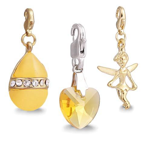 AKKi jewelry Clasps Charms Anhänger für Armband und Kette, 3 er Set Motiv Silber Dream Charm hänger,Edelstahl Zirkonia bettelarmband Schmuck Herz karabiner Verschluss Element Crystal Antik