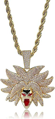 quanjiafu Necklace Dragon Ball Broly Pendant Necklace Iced Out Cubic Zirconia Hip Hop Gold Silver Color Men Women Charms Chain Jewelry 20 Inch Necklace
