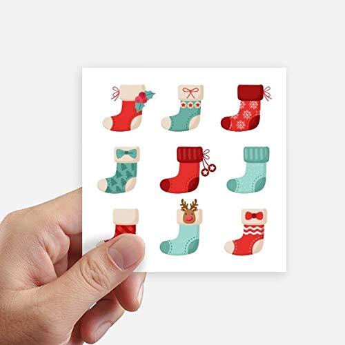 DIYthinker Joyeux Noël Sock coloré Illustration Autocollant carré 10CM Mur Valise pour Ordinateur Portable Motobike Decal 8Pcs 10cm x 10cm Multicolor