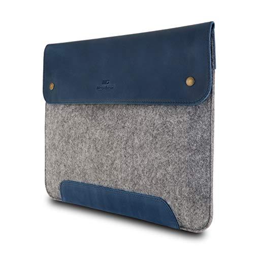 MegaGear Laptoptasche für 33,8 cm (13,3 Zoll) MacBook (aus echtem Leder und Fleece), Dunkelblau, MG1666, einheitsgröße