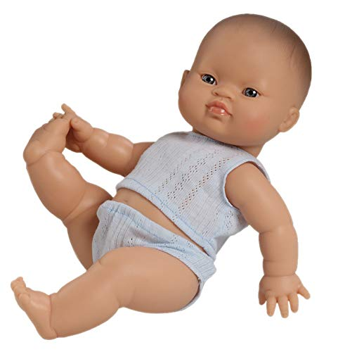 Paola Reina - Gordi, muñeco bebé asiático con Pijama Azul, 34 cm (04001)