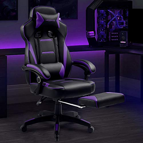 Luckracer Gaming Chair with Footrest Office Desk Chair Pu Leather High Back Adjustable Swivel Lumbar Support Reclining Ergonomic Gamers Chair with Footrest Purple