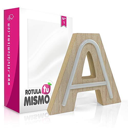 Letras de Neon con madera |Sin cables | Madera de 2,5 cm de grosor | Letras para cualquier evento o decoración de casa | (A)