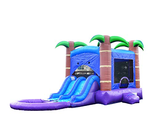 HeroKiddo Tropical Breeze Inflatable Bounce House with Dual Slides Combo, 100% Commercial PVC Vinyl, Purple/Blue/Green/Brown- with Blower and Pool, 13'x 26'