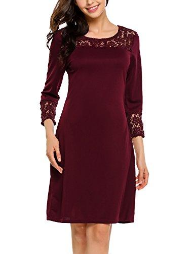 Beyove Damen Elegant Kleid Etuikleid Jerseykleid mit Spitze Freizeit Partykleid 3/4 Ärmel Rundhals Knielang Weinrot XL