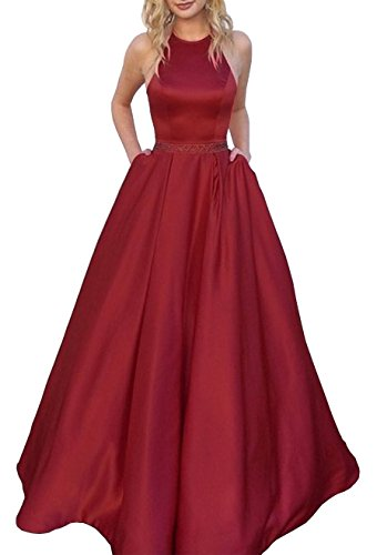 Women's Halter A-line Beaded Satin Evening Prom Dress Formal Ball Gown Long with Pockets Size 10...