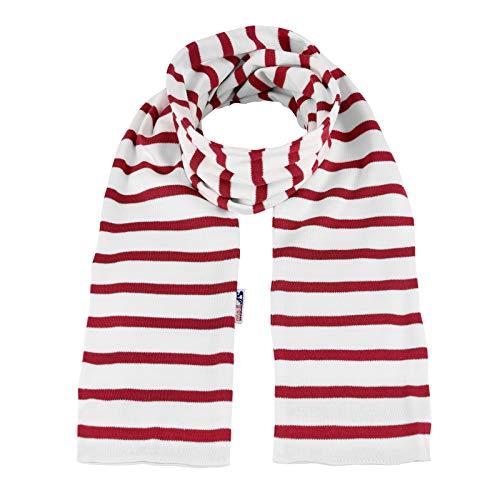 modAS Bretonischer Schal gestreift oder einfarbig 13x120 cm Nr. 2547 Ringel Ringelschal (03 weiß/rot)