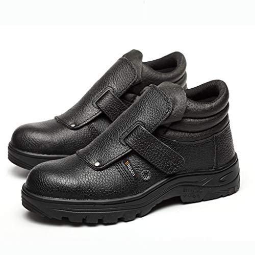 Schuhe Sicherheitsschuhe Herren-Site Sicherheitsschuhe Anti-Zertrümmern Anti-Piercing Sicherheitsschuhe Stahlkappe Arbeitsschuhe (Color : Black Sole, Size : 44)