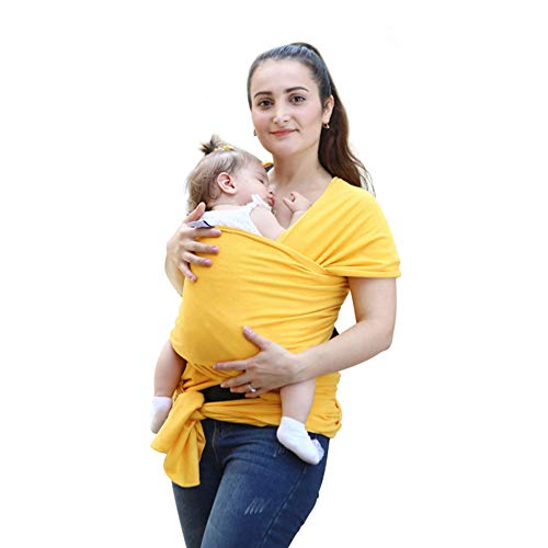 EGMAO BABY Baby Wrap Carrier Sling,All-in-1 Stretchy Breastfeeding Cover,Cotton Newborn Slings,Nursing Cover Wrap,Baby Shower Gift for Boys or Girls(Yellow)