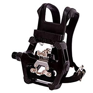 """YBEKI SPD Pedals - Hybrid Pedal with Toe Clip and Straps, Suitable for Spin Bike, Indoor Exercise Bikes and All Indoor Bike with 9/16"""" axles. 6 Month Warranty"""