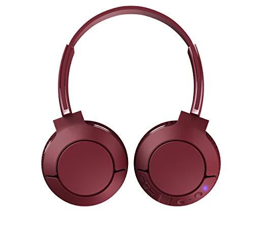 TCL MTRO200BT Wireless On-Ear Kopfhörer mit Mikrofon (Bluetooth 4.2, geräuschisolierend, faltbar, Leder-Ohrpolster, integrierte Fernbedienung und Mikrofon, 20 Stunden Spielzeit), Burgundy Crush
