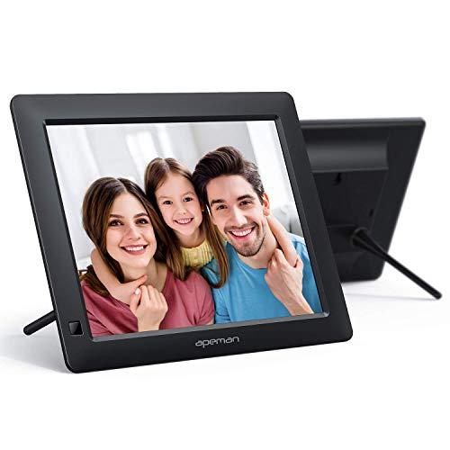 APEMAN Digitaler Bilderrahmen 8 Zoll, Elektronischer Bilderrahmen Hochauflösend (1280 x 800), Unterstützung für HD Display/Foto/Vedio/Musik/Kalender/Wecker/Ebook, Auto on/Off Timer, USB und SD Karte