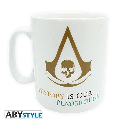 Assassins Creed Black Flag History Tasse zum Video Game mit Edward Kenway und Logo weiß