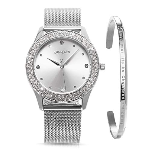 ManChDa Damen Armbanduhr Kristall Mesh Edelstahl Gürtel Damen Quarz Diamant Klassische Mode Romantische + Schmuck Manschette Armband Set (Gelb).