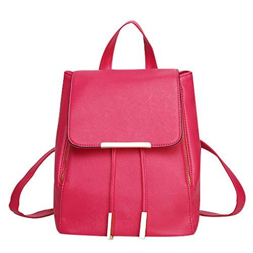 Floweworld Damen Leder Rucksack Mode Einfarbig Weichen Reißverschluss Schulter Handtasche Lässig Retro College Rucksack Schultasche