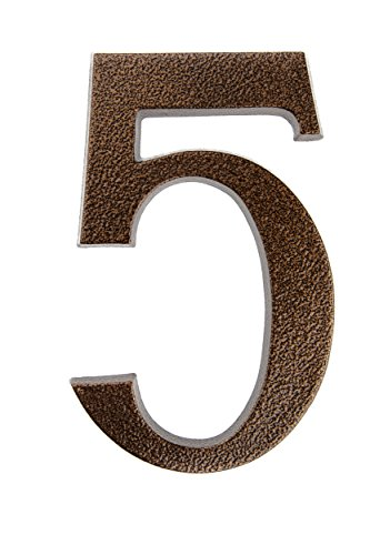 HUBER Hausnummer Nr. 5 Aluminium pulverbeschichtet kupfer antike 20 cm, edles dreidimensionales Design