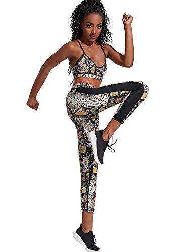 MEIGUI Snake-Print da Donna Yoga Outfit Senza Soluzione di continuità a Vita Alta in Vita di Stampa Serpente Workout in Esecuzione Palestra Vestiti Set Yellow-S