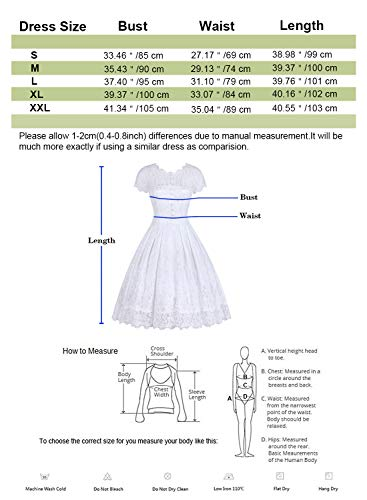 ihot Damen Kleid Brautjungfernkleid Knielang Spitzenkleid Flügelärmeln Cocktailkleid- Gr. XL, Weiß - 7