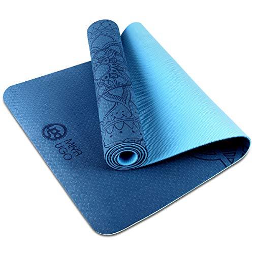 MIYA UGO Tappetino da Yoga, TPE Imbottito e Antiscivolo per Fitness, Crossfit, Pilates e Ginnastica, Adatto per Yoga, Allenamento,183cmx61cmx6mm(Blu)