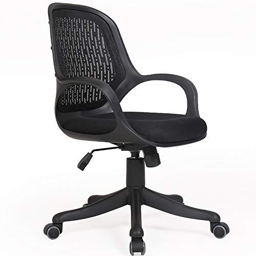 WCURT, Computer Büro Konferenzraum Arbeitsstuhl, höhenverstellbarer 360 ° Drehstuhl, ergonomischer Stuhl, schwarz weiß-Black