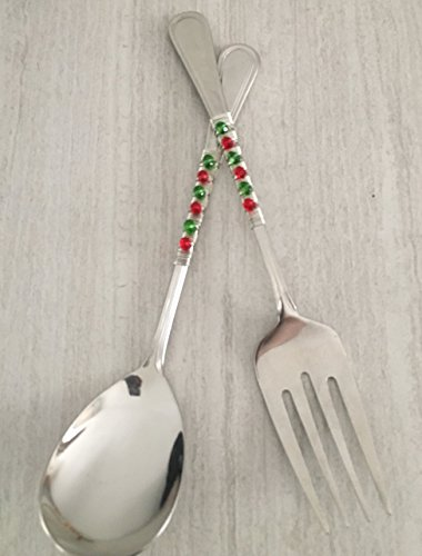 Red And Green Silver Wire Christmas Beaded Serving Utensil Set