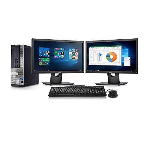 Dell Optiplex 9010 Desktop Computer- Intel Core i7 3.4GHz, 16GB DDR3, New 1TB HDD, Windows 10 Pro 64-Bit, WiFi, DVDRW + 2 New Dell Full HD 22 inch LED Monitor (Renewed)