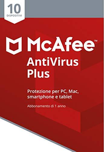 McAfee Antivirus Plus 10 Dispositivi | Abbonamento di 1 anno | PC Mac Smartphone Tablet | Codice di attivazione via mail