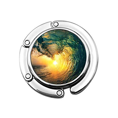 Color Ocean Wave Rompiendo al Atardecer Moderno Monedero Colgador Bolsa Colgador de Mesa Diseños únicos Sección Plegable Colgador de Almacenamiento para Bolsos
