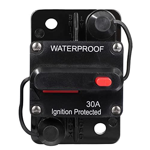iplusmile 12V ~ 36V Interruptor de Circuito Inversor de Fusibles para Auto Camión RV Remolque Marino Restauración Manual Interruptor de Potencia a Prueba de Agua (30A)