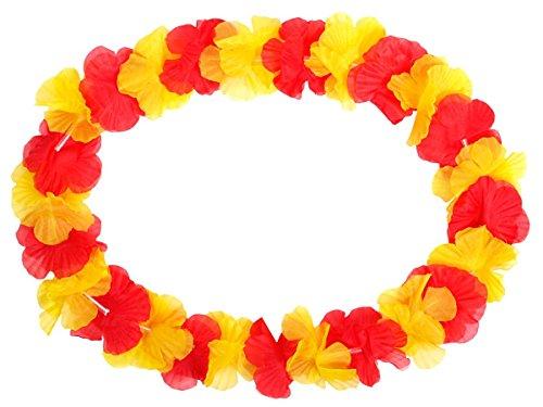 Alsino Hawaiikette 12er Set Blumenketten Hawai Deko Ketten Spanien rot gelb - Durchmesser: 50 cm HK-11