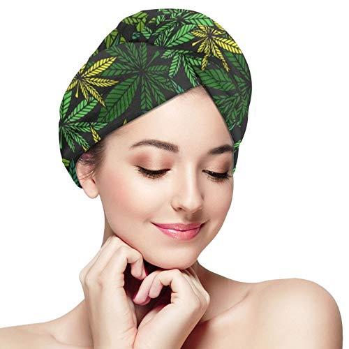 ZVEZVI Hoja de Marihuana Cannabis Nature Toalla para el Cabello Wrap Turbante Microfibra Secado Toalla de Ducha de baño con Botones, Quick Magic Dryer, Gorro de Pelo seco, Gorro de baño Envuelto