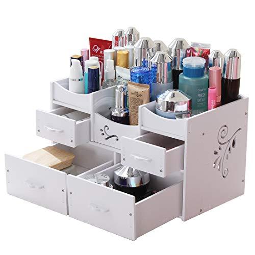 Allshiny Ornament. Kosmetische Aufbewahrungsbox-Schubladentyp des Desktop-Speichers große große Frisierkommode Hautpflegeprodukte Zahnstangeschmuckvollendenholz (Color : White)