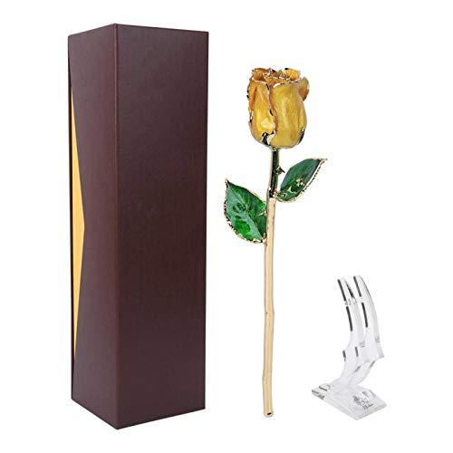zhuolong Flor de Rosa Dorada Amarilla de 24 Quilates con decoración de Regalo Base para el día de San Valentín de la Madre