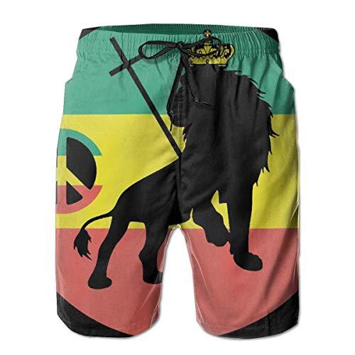 Yuanmeiju Äthiopien Flagge mit Lion Man Summer Surf Kurze Badehose Schnelltrocknende Hose mit Taschen