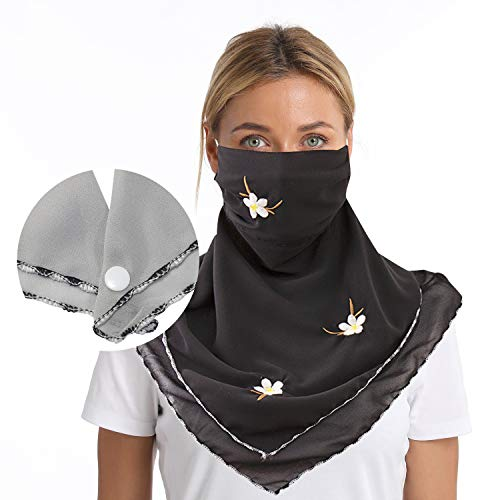 Lorpect Neck Gaiter Face Scarf Mask-Dust Outdoors Balaclavas Cloth Sports Sun Protection Scarf (Plus size With snap Black)