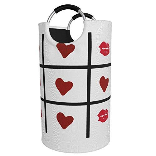 Cesto plegable de gran tamaño para la colada Tic Tac Toe Love! Sucia bolsa de almacenamiento para la colección de juguetes tela Oxford con diseño elegante