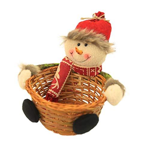 Titular muñeco nieve Diseño caramelo la Navidad la cesta mimbre bambú tejido la cesta del regalo Navidad contenedores almacenamiento Navidad la cesta del almacenaje interior del tamaño S