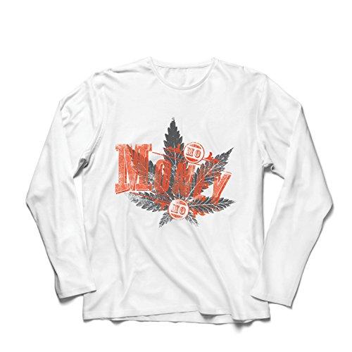 Camiseta de Manga Larga para Hombre Sin Dinero Sin diversión - Hoja de Cannabis - Fumar Hierba - Citas conjuntas - Lema de Marihuana