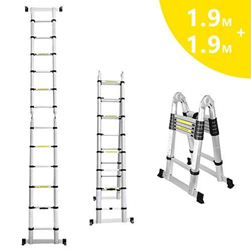 Hengda 3.8(1.9+1.9) M Teleskopleiter Klappleiter Ausziehbare Leiter Teleskop-Design 150 kg Belastbarkeit Rutschfester Klappleiter 6+6 Stufen für Büronutzung Baujob Ausziehbar