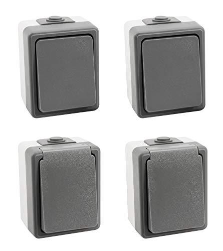 MC POWER - Aufputz Feuchtraum-Set | SECURE | Flur | 4-teilig, 2x Schalter, 2x Steckdose, grau, IP44