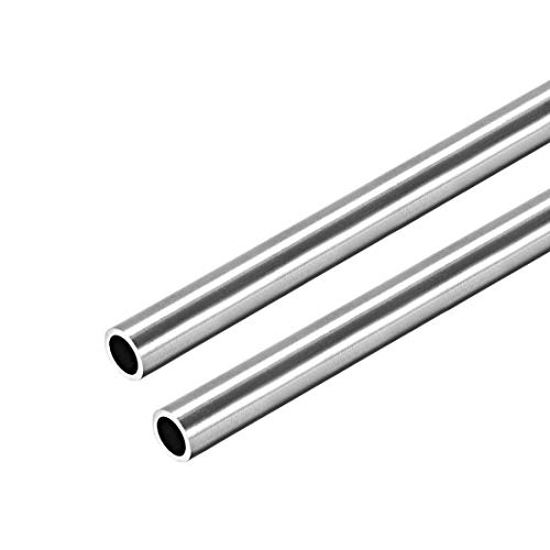 sourcing map Acero Inoxidable 304 Redondo Tubo 8mm OD 1mm Pared Grosor 250mm Sin Costura Recto Tubo Tubería 2 Pcs