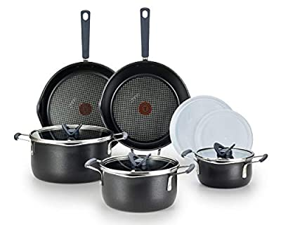 T-fal B210SA All-in- One Stackables Titanium Nonstick 10 Pieces Cookware Set, Multifunctional, Dishwasher Safe, Black (Renewed)