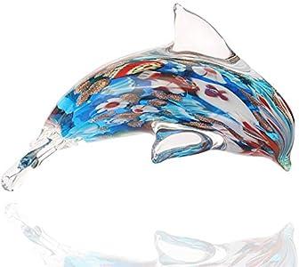 Figura de delfín de vidrio Mano hecho a mano Marada de mar Escultura de la escultura de la estatua de Papel Papel Papel Collectable Desenombros para el hogar Decoración Adornos ( Color : Murano )